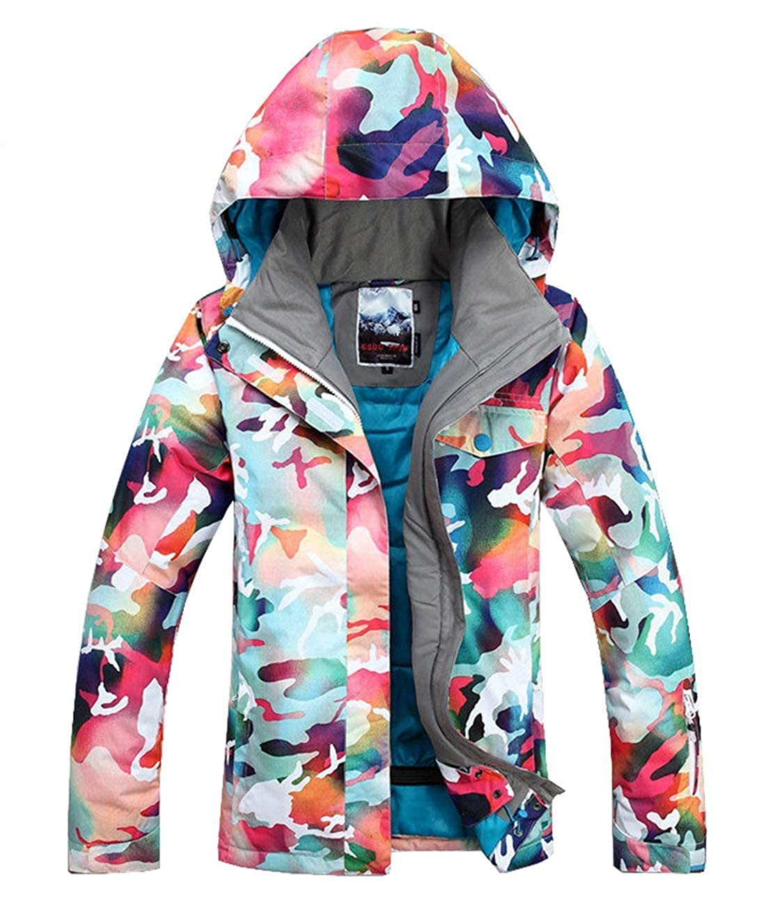 Image of Women's Insulated Waterproof Ski & Snowboard Jacket Bright Colored Windproof Snow Coat