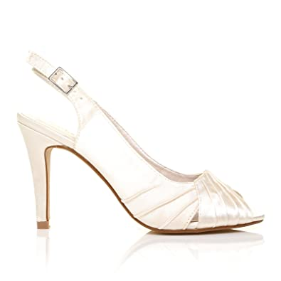 864adf5f28b CHLOE Ivory Satin Stiletto High Heel Slingback Bridal Peep Toe Shoes   Amazon.co.uk  Shoes   Bags