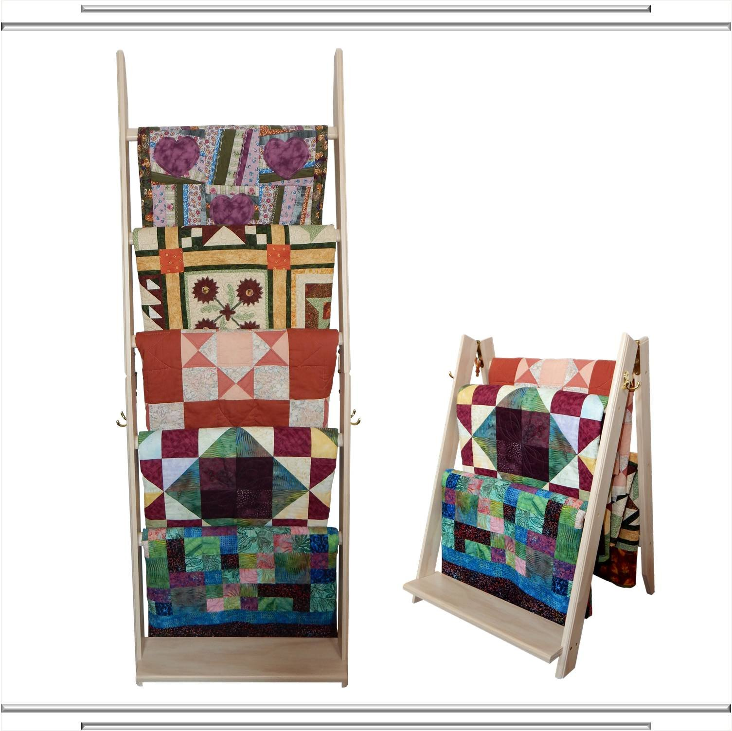 The LadderRack 2-in-1 Quilt Display Rack (5 Rung/30'' Model/Whitewash)