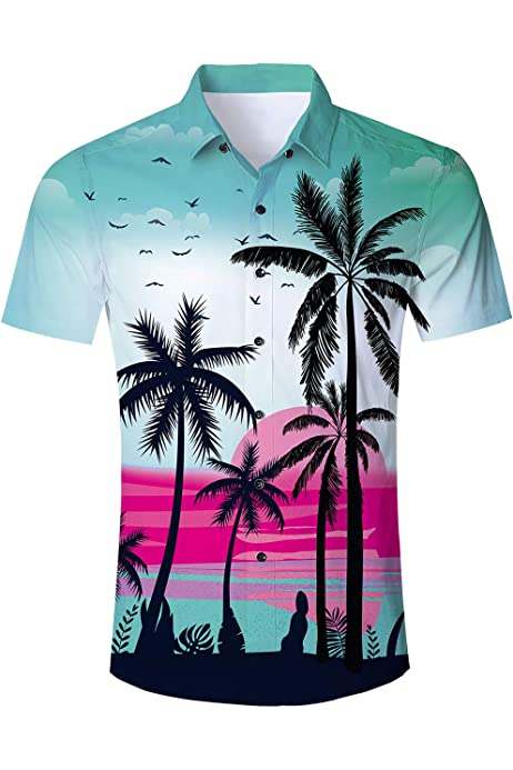 Men Aloha Shirt Cruise Tropical Luau Beach Hawaiian Hawaii Shirts Blouse DG
