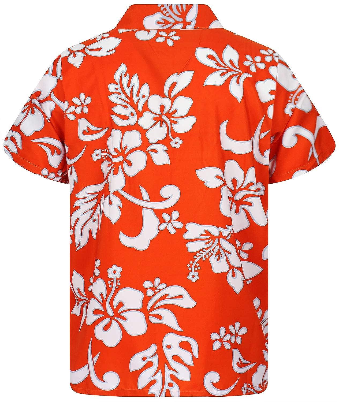 Funky Hawaiian Shirt Men Short-Sleeve Front-Pocket Hibiscus Multiple Colors V.H.O