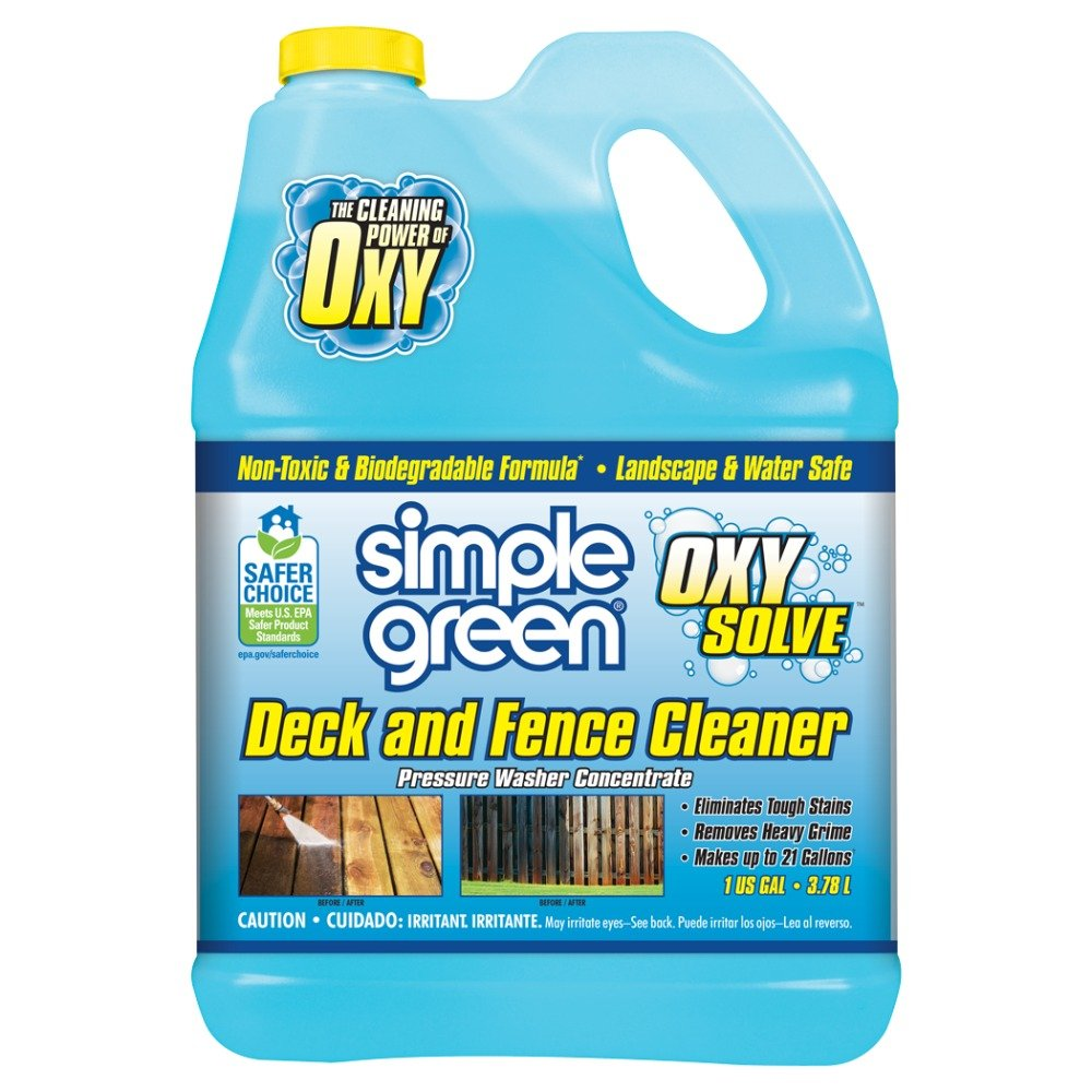 SIMPLE GREEN Oxy Solve Deck and Fence Pressure Washer Cleaner - Removes Stains from Mold, Mildew & Dirt on Composite, Vinyl, PVC and Wood Decking and Fencing - Concentrate 1 Gal. by SIMPLE GREEN