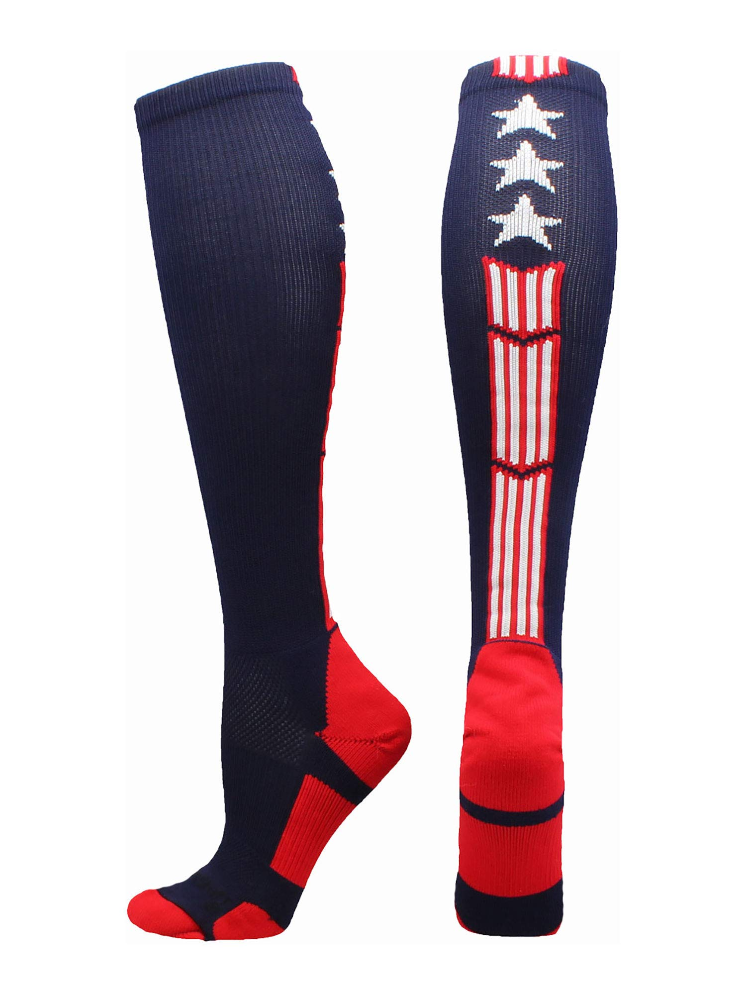 MadSportsStuff Patriot Stars and Stripes USA Flag Over The Calf Socks (Navy/Red/White 2.0, Large) by MadSportsStuff