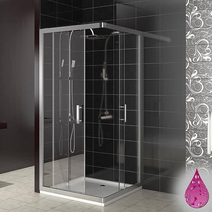 Plato de ducha cabina de ducha Puerta corredera modelo en esquina de ducha con mampara de puertas correderas de cristal de 80 x 80 90 x 90, 80 x 80 cm: Amazon.es: Hogar