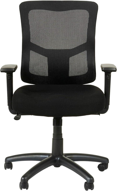 Alera Elusion II Series Mesh Mid-Back Swivel/Tilt Chair with Adjustable Arms, Black