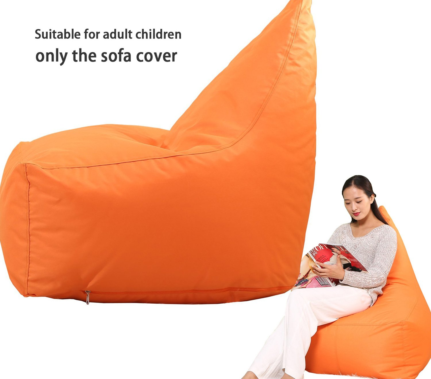 QuWei Bean Bags Chair Triangel Creative Cartoon DIY Comfortable Mini Sofa Indoor/Outdoor Soft Floor Cushion Lazy Sofa (orange)