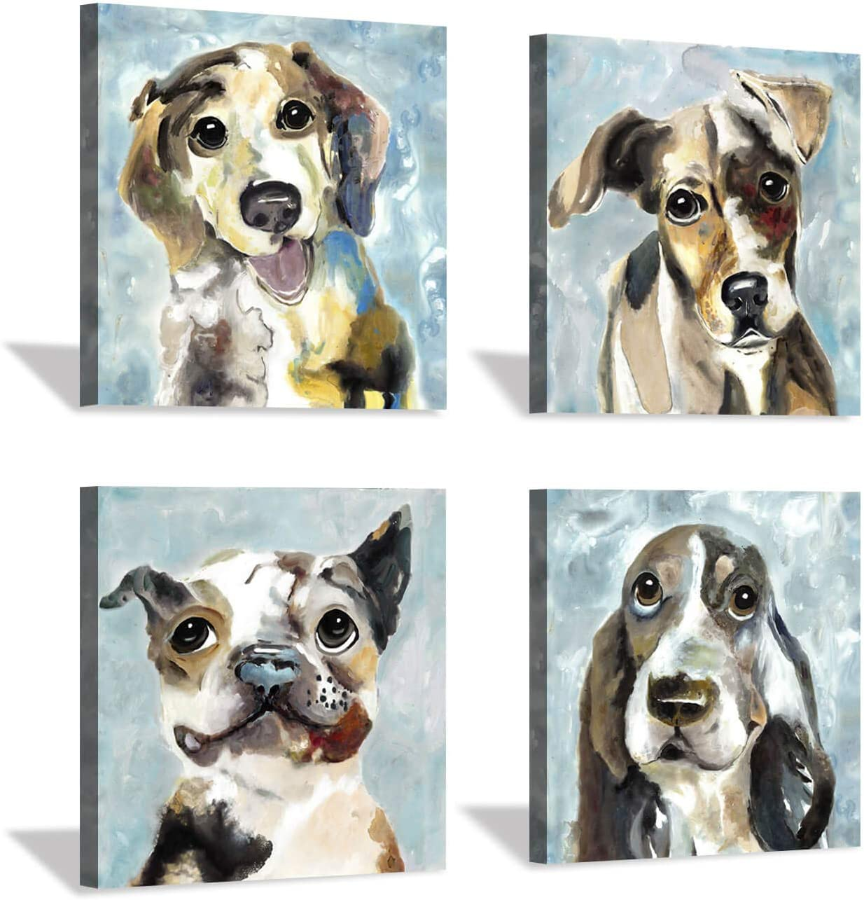 Hardy Gallery Pet Canvas Painting Puppy Artwork: Abstract Dog Picture Print on Canvas for Room Decorations (12'' x 12'' x 4 Panels)