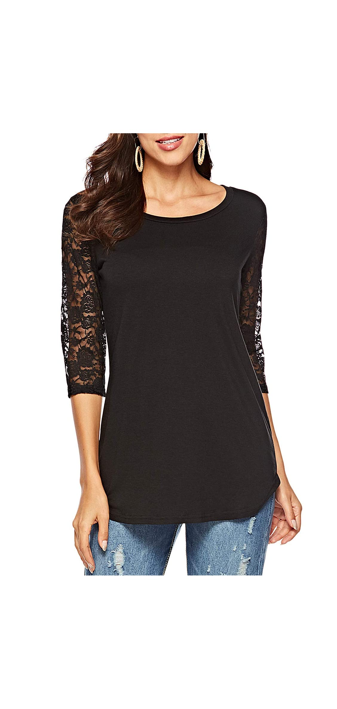 Women's / Lace Sleeve Round Neck T-shirt Casual Blouses