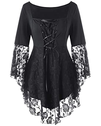 f4d3dbeaf97 KENNACY Womens Victorian Gothic Plus Size Tops Lace Bell Long Sleeve Blouse  T-Shirt (