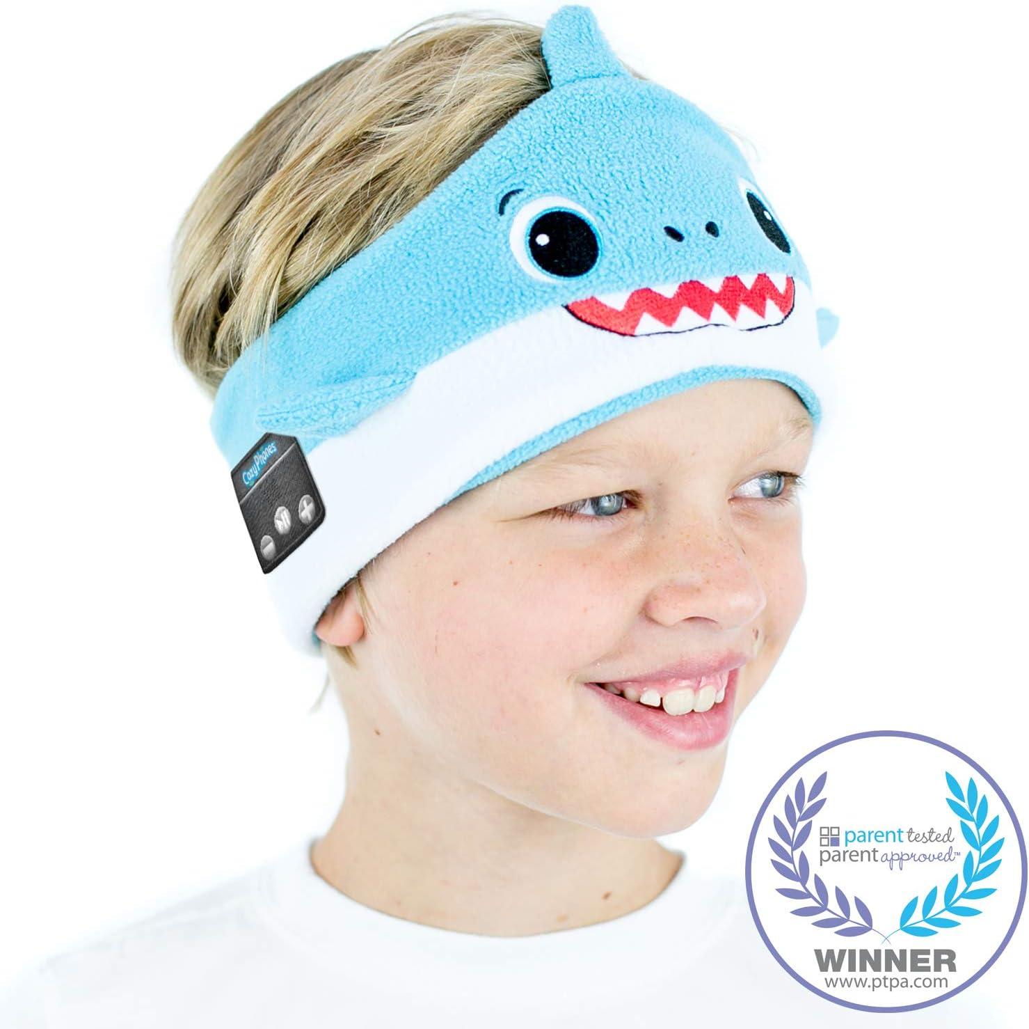 CozyPhones Kids Wireless Headphones Volume Limited with Thin Speakers & Super Soft Fleece Headband - Perfect Toddlers & Children's Earphones for Home, School & Travel - Shark