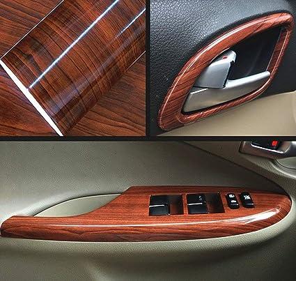 Glossy Car Interior Wood Grain Textured DIY Vinyl Wrap Sticker Decal Sheet Film