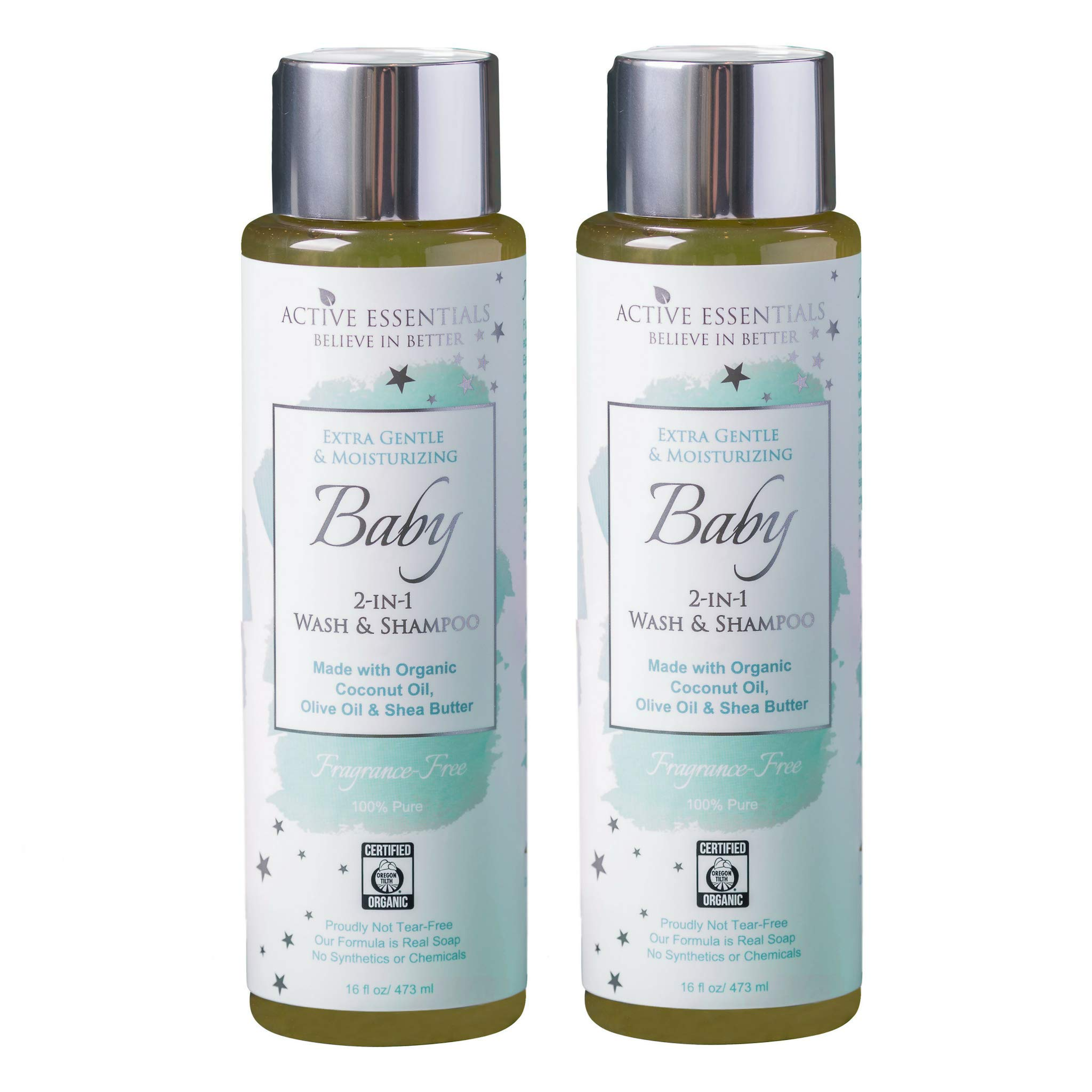 Organic Baby Wash & Shampoo with Organic Coconut Oil, Olive Oil & Shea Butter, Unscented, 100% Natural, Extra Gentle, Active Essentials 16 Ounce - 2 Pack by Active Essentials