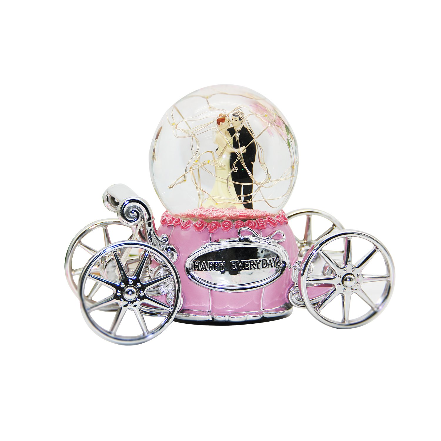 NON ROCK Bride and Groom Pink Music Box Water Globe Snow Crystal Ball Wind Up Led With Music of Castle in the Sky