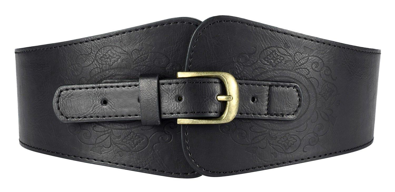 Motase Faux Leather Womens Wide Elasitc Stretch Waist Belt Corset with Floral Black Plus Size XXL