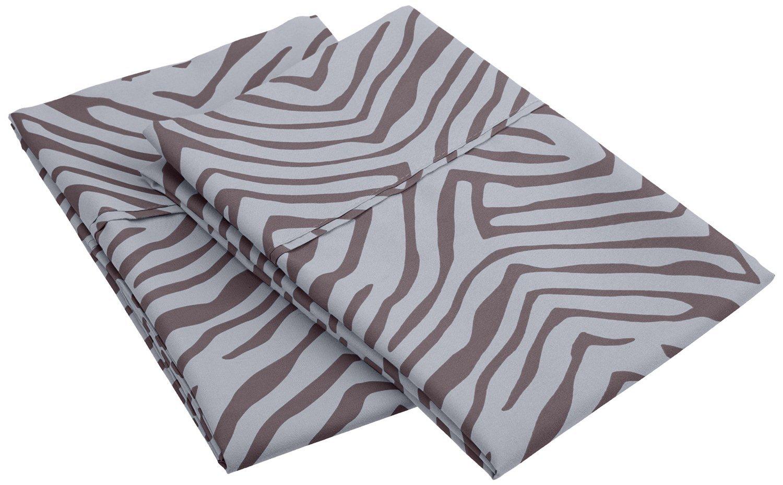 1800 Series 100% Brushed Microfiber, Wrinkle Resistant 2-Piece King  Pillowcase Set, Animal Print, Grey