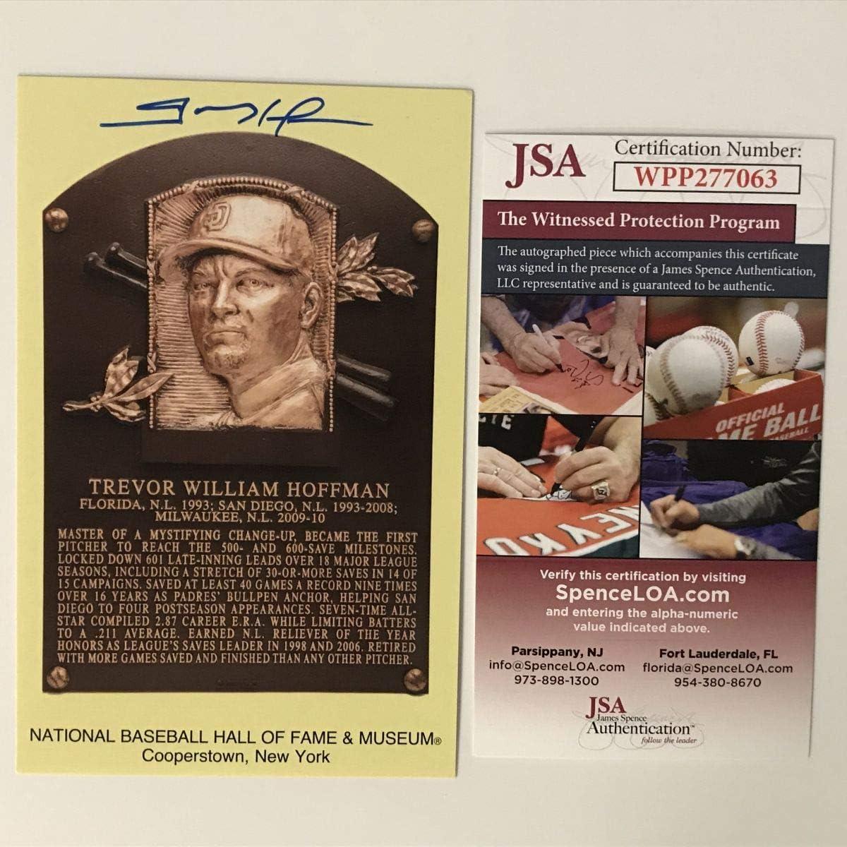 Autographed//Signed Trevor Hoffman HOF Hall Of Fame Baseball Plaque Postcard JSA COA