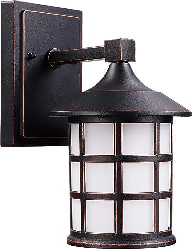 Passica Modern Outdoor LED Porch Wall Light 4000K White Light 12W COB IP65 Waterproof IP65 Sconce Black Metal Matte Hallway Wall Lamp