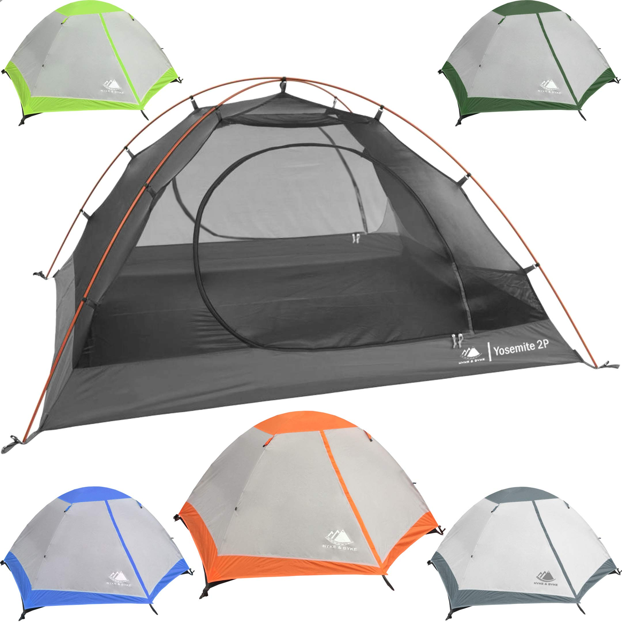 Hyke & Byke 2 Person Backpacking Tent with Footprint - Lightweight Yosemite Two Man 3 Season Ultralight, Waterproof, Ultra Compact 2p Freestanding Backpack Tents for Camping and Hiking (Orange) by Hyke & Byke