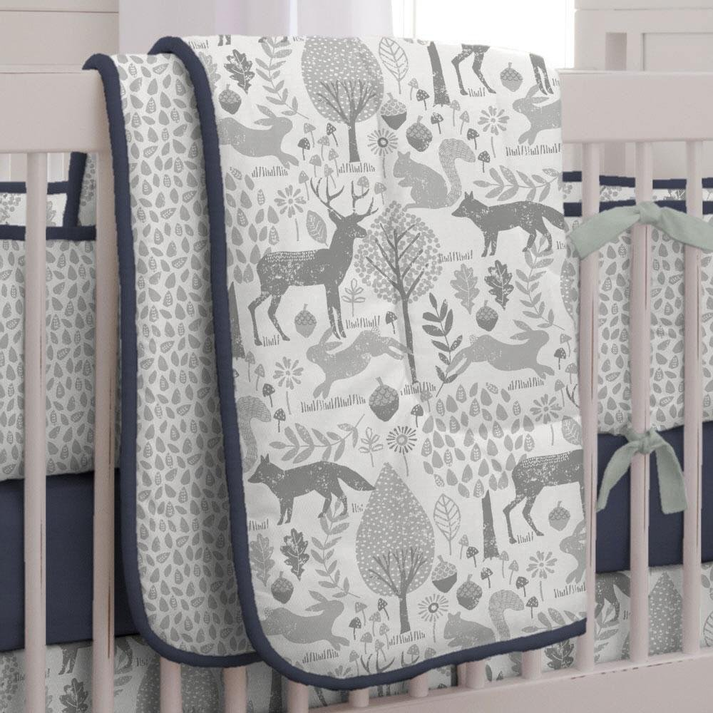 Carousel Designs Navy and Gray Woodland Crib Comforter by Carousel Designs   B01DPN3UR8