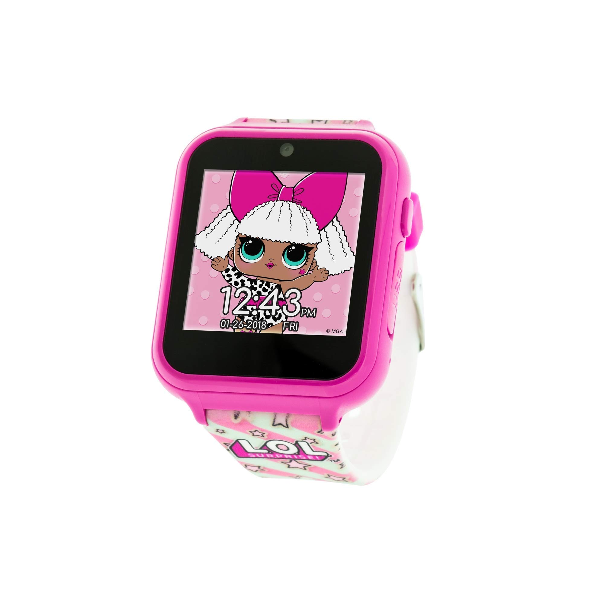 L.O.L. Surprise! Touch-Screen Smartwatch Built in Selfie-Camera Easy-to-Buckle Strap Pink Smart Watch - Model: LOL4104