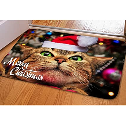 Christmas Doormat For Entrance Way Funny Cat Pattern Door Mats Kids Animal  Area Rug Xmas Doormat