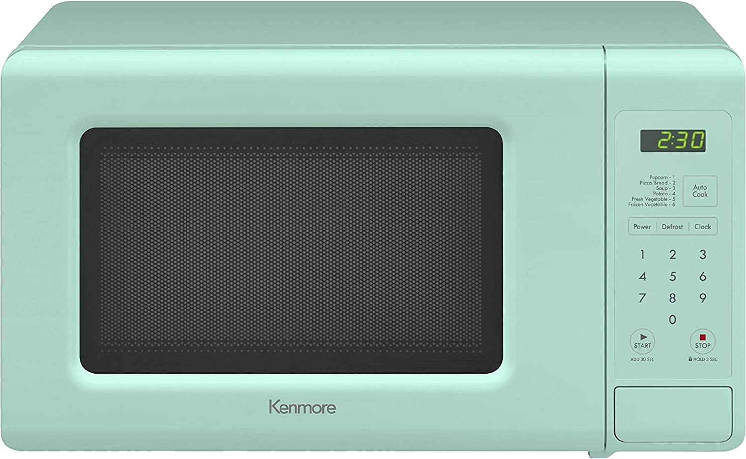 Kenmore Elite 70721 0.7 cu. ft Compact 700 Watts 10 Power Settings, 6 Heating Presets, Removable Turntable, ADA Compliant Small Countertop Microwave, Mint Green