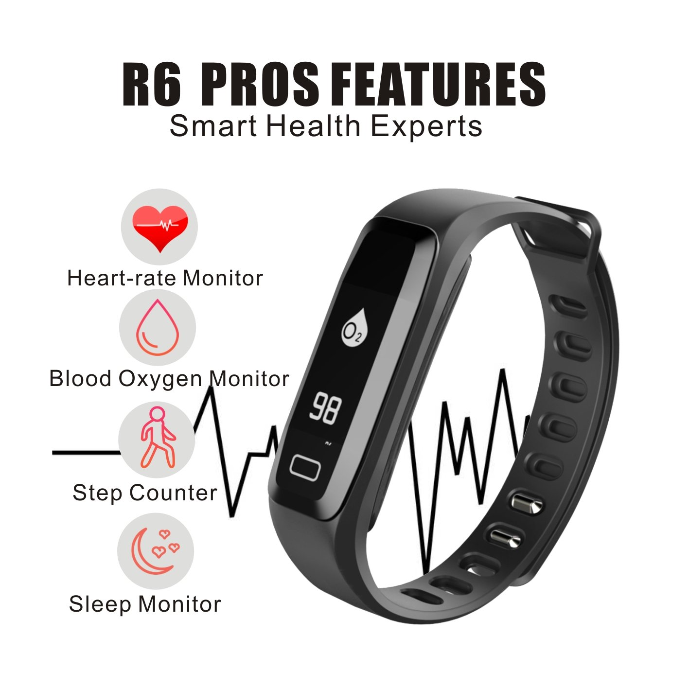 Read New Smart Fitness Tracker Watch With Blood Xiaomi 042ampquot Screen Mi Band 2 Wristband Replace Black Pressure Heart Rate Sleep Pedometer Camera Remote Shoot Oxygen Monitor