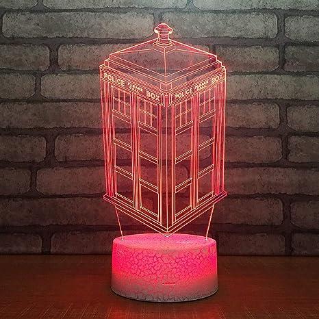 3D Ilusión óptica Lámpara LED Luz Cabina de telefono movil ...