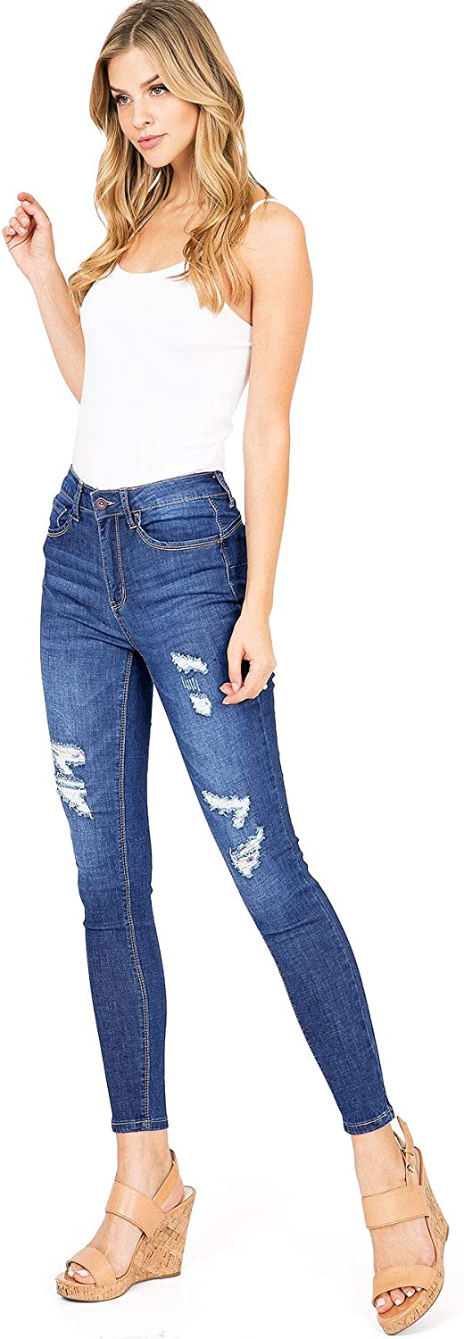 Amazon Com Wax Jeans Jeans Para Mujer Juniors Cintura Alta Ligera Y Angustiante Skinny Jeans Clothing