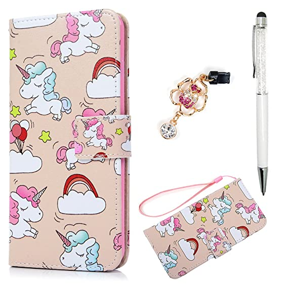 reputable site 44614 d64a9 iPhone 7 Plus Wallet Case, iPhone 8 Plus Case, Premium PU Leather Magnetic  Flip Cover Cute Lovely Running Unicorn Animal Soft TPU Slim Waterproof ...