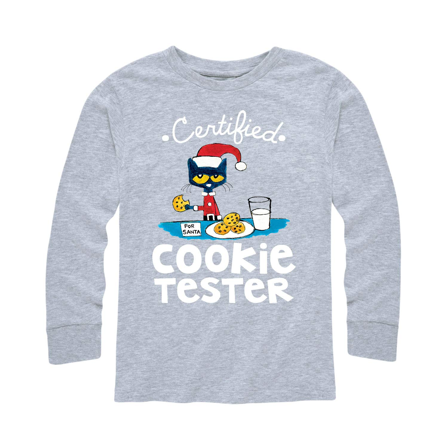 Pete the Cat Certified Cookie Tester - Toddler Long Sleeve Tee Athletic Heather by Pete the Cat