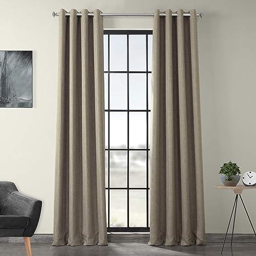 HPD Half Price Drapes BOCH-LN18511-120-GR Faux Linen Grommet Blackout Room Darkening Curtain 1 Panel , 50 X 120, Mink