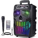 "EIFER Portable Bluetooth Speaker 50W Wireless Bluetooth Speakers TWS Pairing Skull Karaoke Machine with Mic Active 8"" Loudspe"