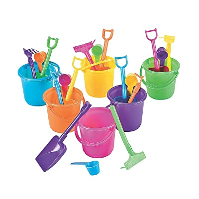 "OTC Sand Pail Beach Play, 3.25"" Bucket with Rake, Scoop & Shovel, Small, 24 Sets: Toys & Games"