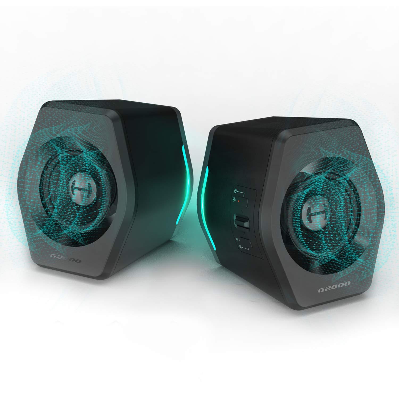 Edifier G2000 32W PC Computer Speakers for Desktop, Gaming, Laptop, Mac,Woofer Speakers Bluetooth, Bass Multimedia Speakers RGB Lights, USB 3.5mm AUX inputs,Black