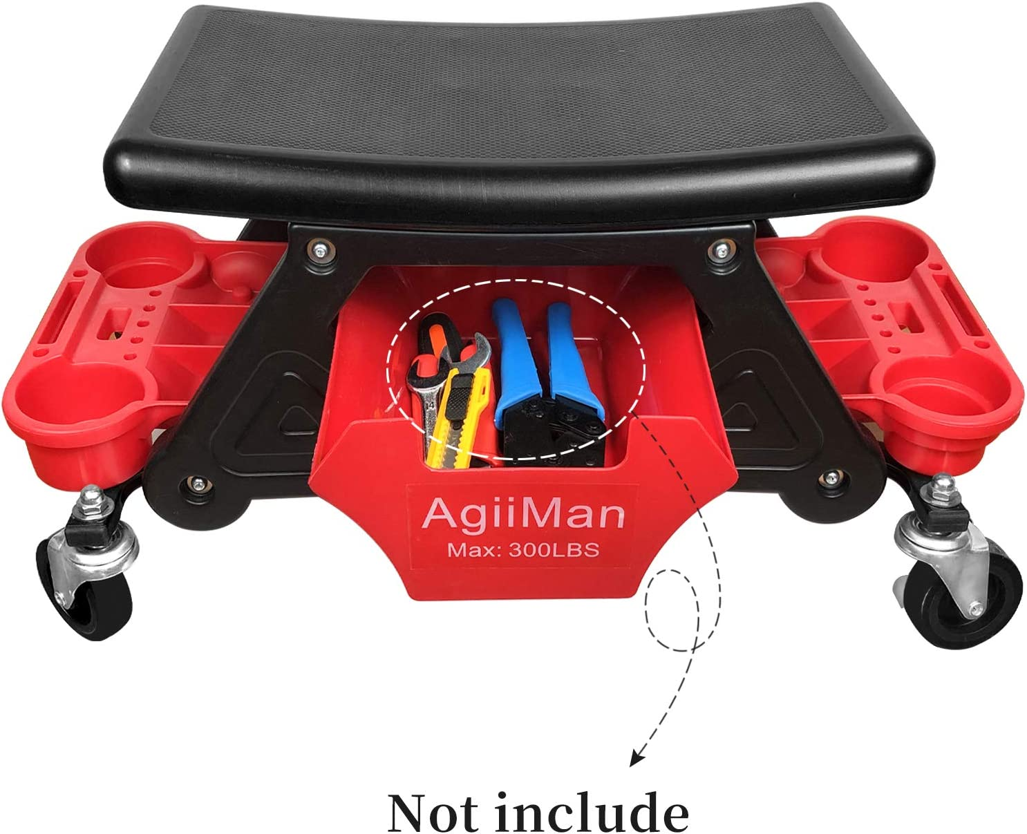 AgiiMan Garage Roller Stool Rolling Mechanic Stool Chair Repair Tools Tray Creeper Detailing Seat 300 Lbs Capacity 2 Tool Storage Drawers Under Seat