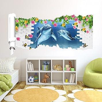 Wieancreative 3D Stereo Wand Aufkleber Wandbild Wallpaper Schlafzimmer  Wohnzimmer Sofa WC Perspektive Dolphin HD Aufkleber