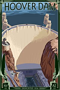 Hoover Dam Aerial (9x12 Art Print, Wall Decor Travel Poster)