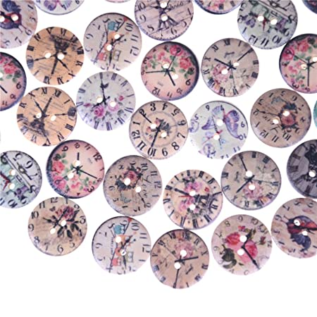 LianLe 50 PCS Wooden Buttons Mixed Animal Shape for Sewing Scrapbooking DIY Craft