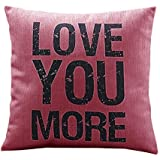 """Ouneed Home Decor """"Love you more """"Cotton Linen Leaning Cushion Throw Pillow Covers Pillowslip Case (Hot Pink)"""