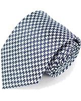 Men's Microfiber Navy Blue & White Houndstooth Woven Tie Necktie