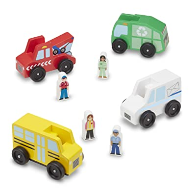 Melissa & Doug Community Vehicles Play Set - Classic Wooden Toy With 4 Vehicles and 4 Play Figures: Toys & Games