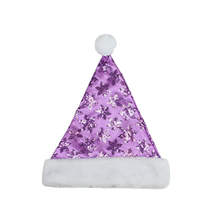 d39b952f923b6 Image Unavailable. Image not available for. Color  Northlight 14 quot   Purple Sequin Snowflake Christmas Santa Hat with White Faux Fur Brim ...