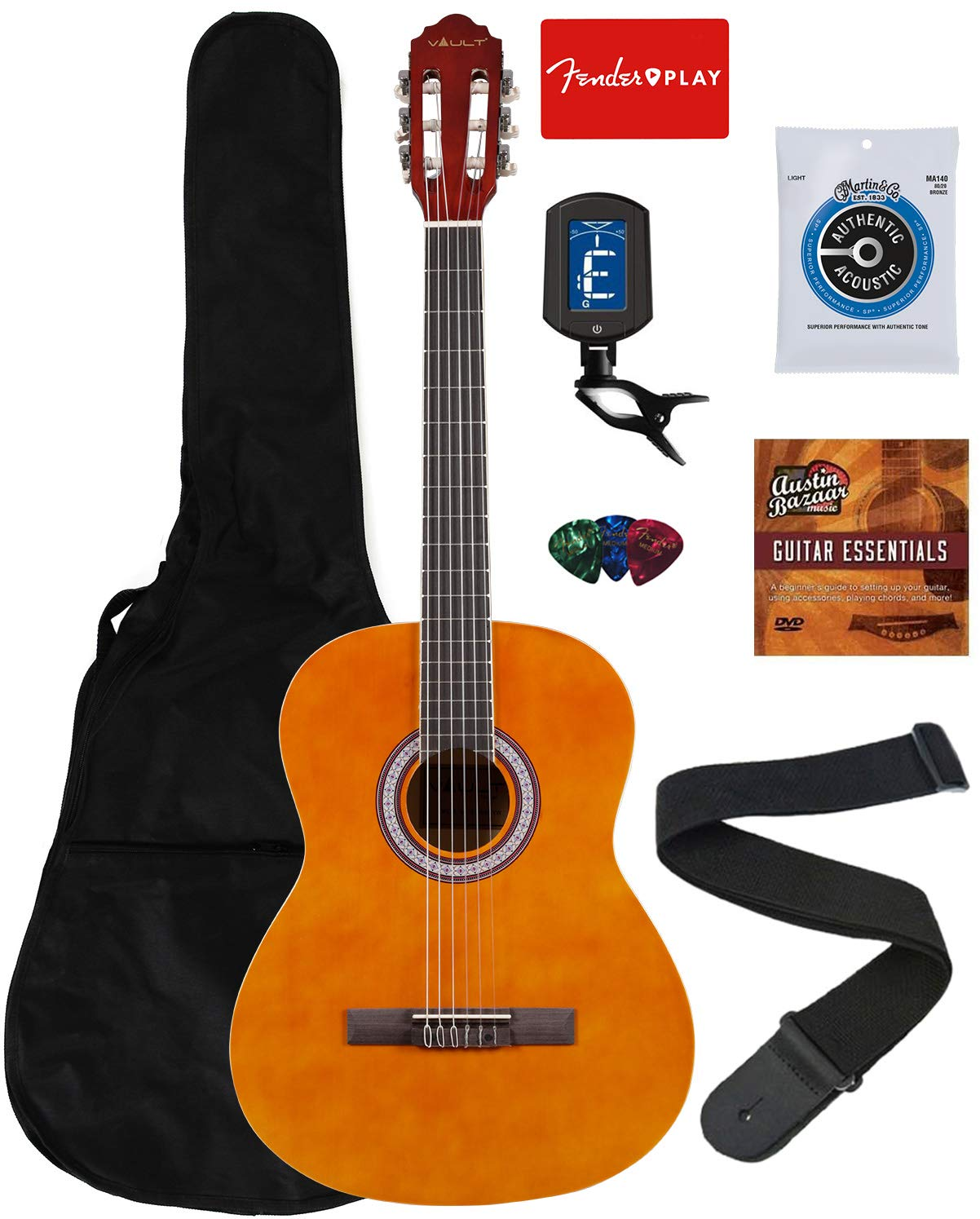 Vault 39-Inch Classical Guitar - Natural Bundle with Gig Bag, Tuner, String, Picks, Strap, Fender Play Online Lessons, and Austin Bazaar Instructional DVD by VAULT