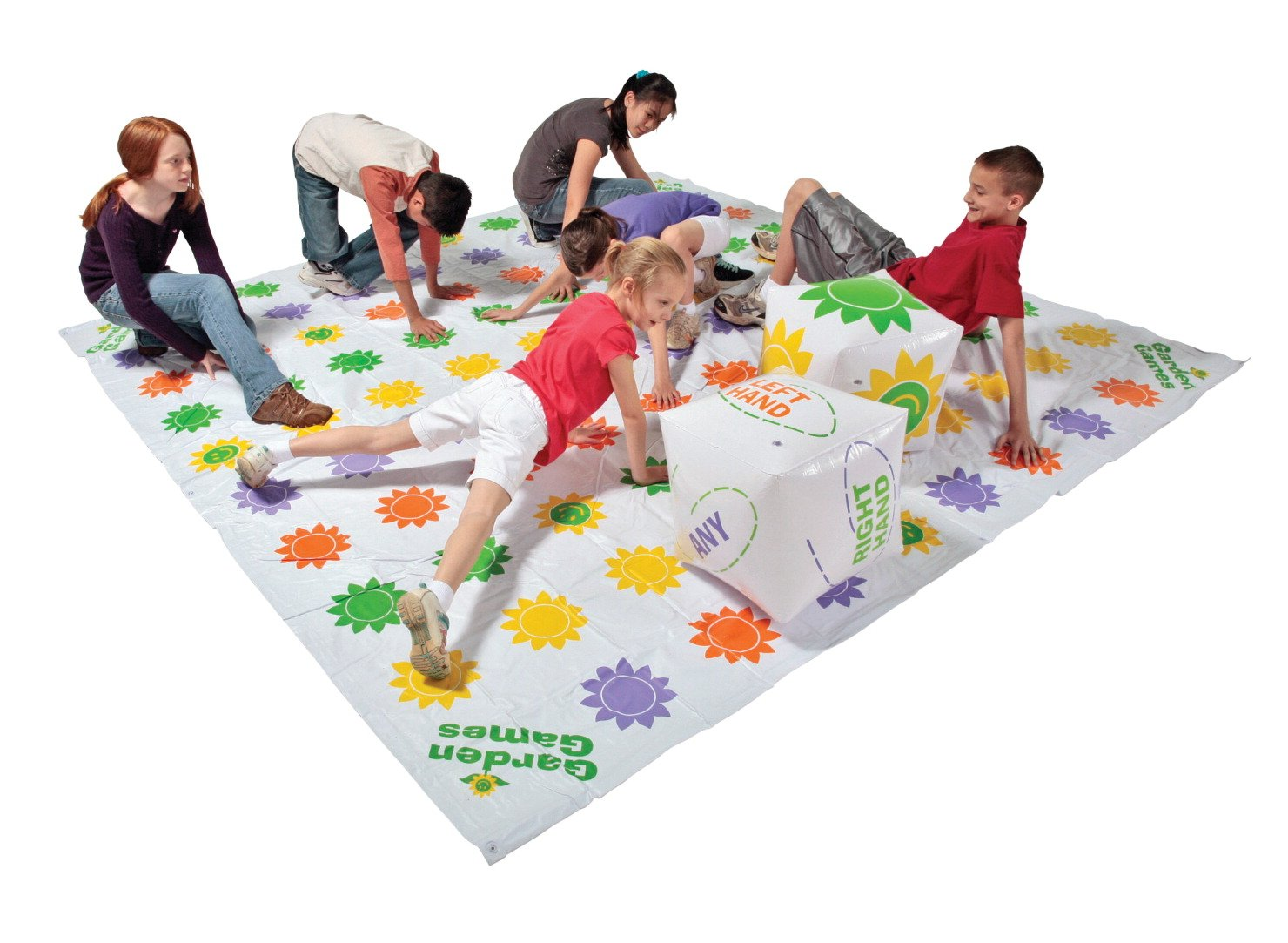 DOM Giant Get Knotted Inflatable Game, Set Includes Game Mat, 8 Stakes and 2 Giant Inflatable Dice