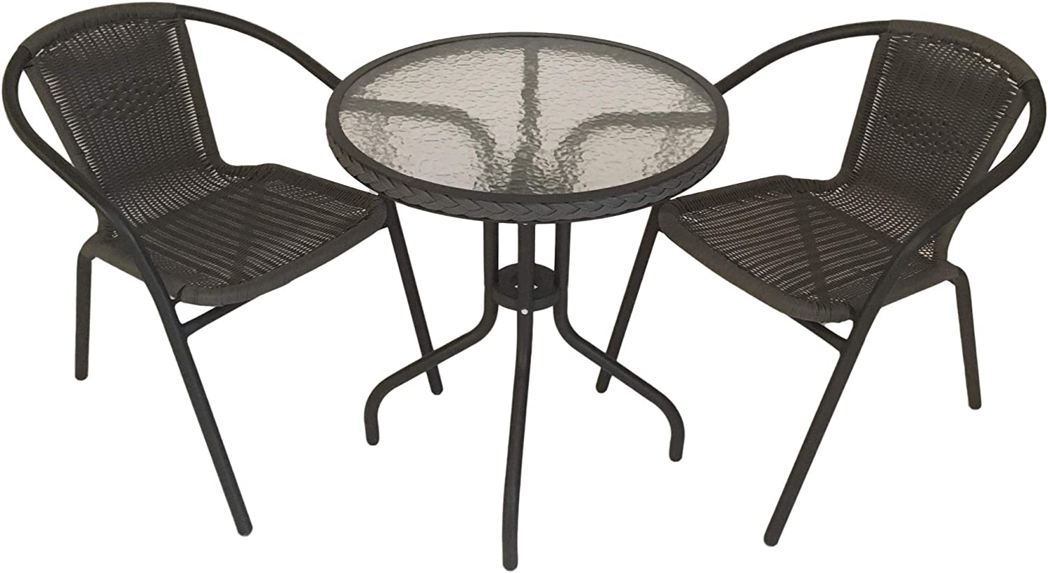 SALE Bistro Chair & Table Set with Aluminium Frame - Garden Furniture Cafe  - Round Patio Table & 10 Chairs - 10 cm