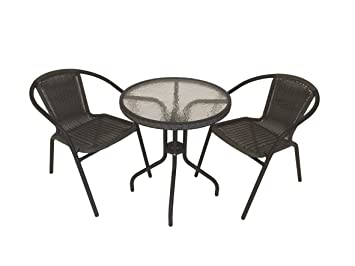 Sale Bistro Chair Table Set With Aluminium Frame Garden Furniture Cafe Round Patio Table 2 Chairs 60 Cm