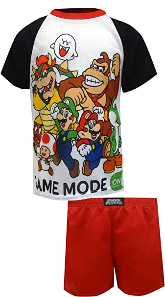 Amazon.com: Super Mario Brothers Boys 2 piezas pijama, 4 ...