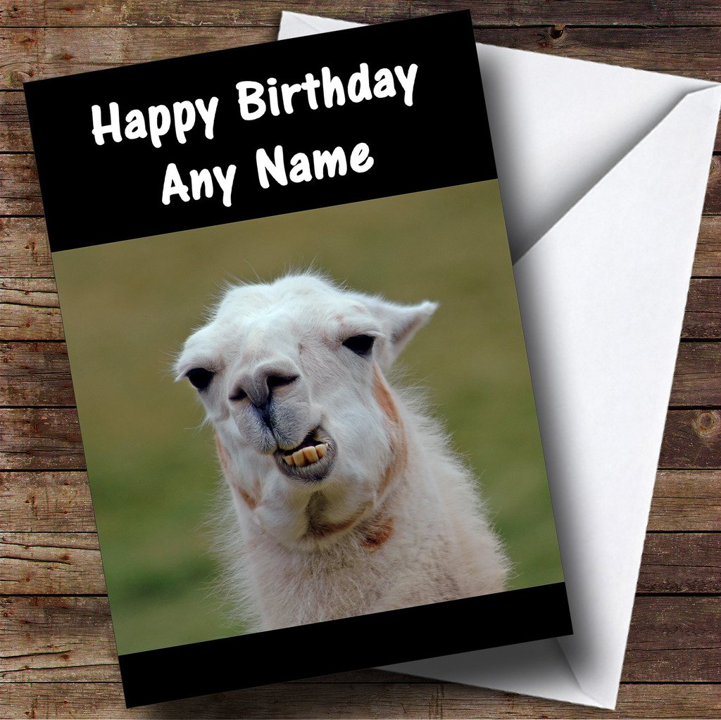 Funny Teeth Llama Personalised Birthday Card Amazoncouk Office