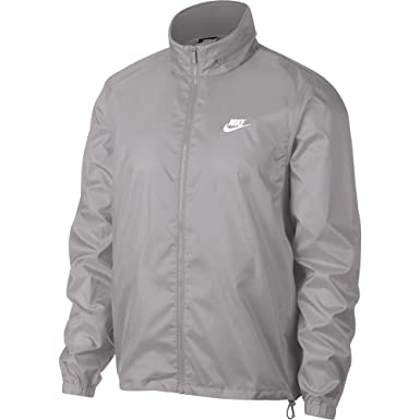 dcc13b48aea0 Nike Men s Sportswear Hooded Windbreaker Jacket Atmosphere Grey White Size  Small